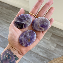 Chevron Amethyst Palm Stones - Small