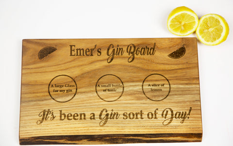 Personalised Gin Board by Dernacoo Crafts