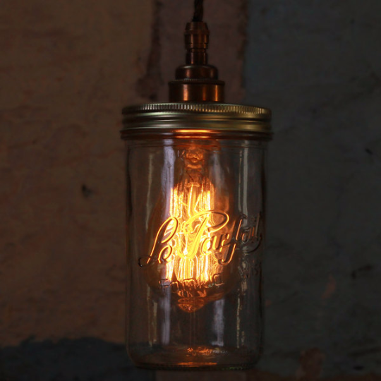 Jam Jar Pendant Light - Antique Brass by Mullan Lighting