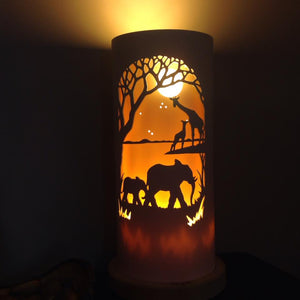 Handcrafted Zambezi Elephants & Giraffes Night Light by Tique Lights
