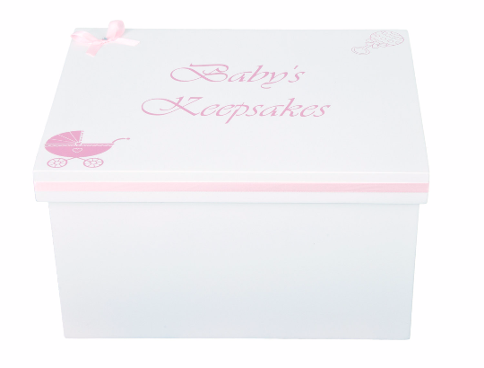 Pink & White Baby Girl Keepsake Box by PD's Workshop