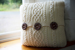 Aran-Knit Wool Cushions in Cream by Geraldine Gildernew