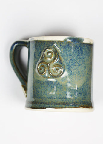 Blue Ceramic Coffee Celtic Mug by Busy Bee Ceramics