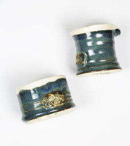 Blue Ceramic Sugar Bowl & Creamer by Busy Bee Ceramics