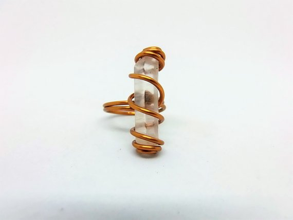 Celtic Copper Ring with Quartz Gem by Crafty Irish Beggars