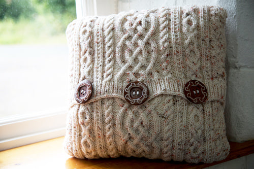 Aran-Knit Wool Cushions in Red by Geraldine Gildernew