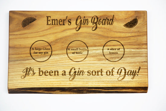 Persoanlised Gin Board by Dernacoo Crafts