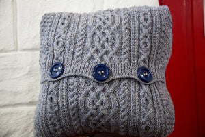 Aran-Knit Wool Cushions in Navy by Geraldine Gildernew