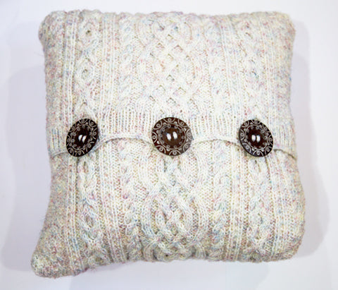 Aran-Knit Wool Cushions in Rainbow by Geraldine Gildernew