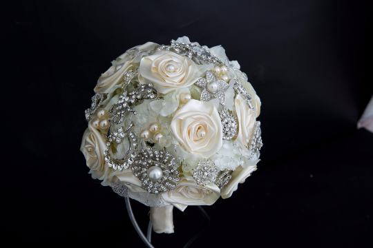 Ivory Silk Ribbon Rose's Brooch Bouquet by Emerald Isle Bouquets