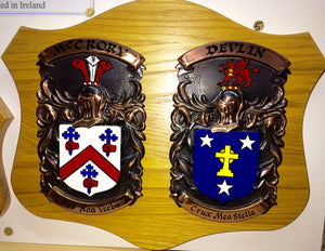 Large Double Copper on Native Oak Plaque by Heraldic Craft