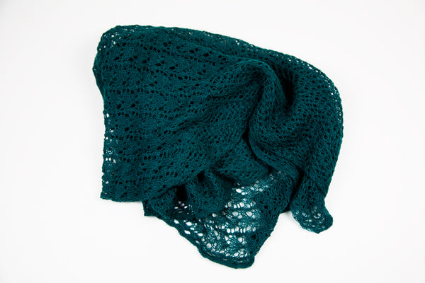 Alpaca Lace Triangle Shawl in Green by Marian Morris