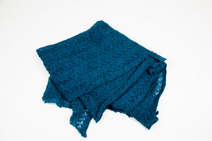 Alpaca Lace Wrap in Petrol Blue by Marian Morris
