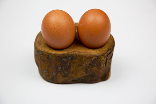Plum Tree Wood Double Egg Cup by Dernacoo Crafts