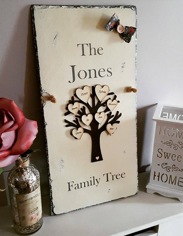 Personalised Unique Family Tree Plaque by Rosabelle Craftique