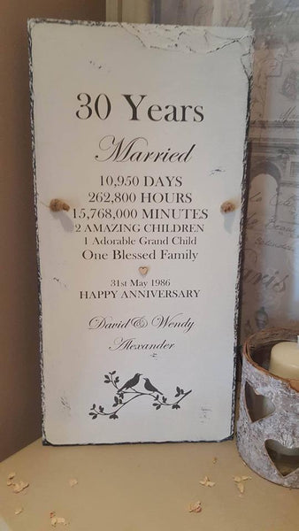 Personalised Unique Wedding Anniversary Present on Slate by Rosabelle Craftique