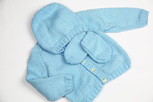 "Boys Blue Wool Cardigan, Glove, Hat Set - 20"" by Roberta Sturgeon"