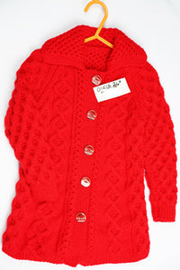 "Girls Red Wool Cardigan - 24"" by Roberta Sturgeon"