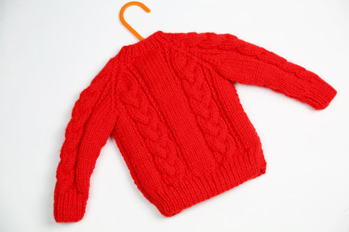 "Girls Red Wool Cardigan - 18"" by Roberta Sturgeon"