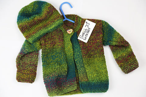 "Girls Green Wool Cardigan With Hat Set - 22"" by Roberta Sturgeon"
