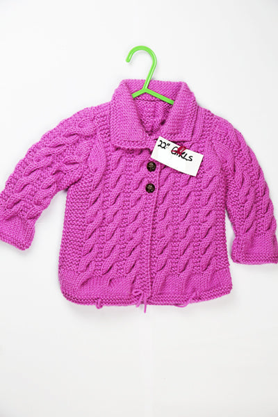 "Girls Pink Wool Cardigan - 22"" by Roberta Sturgeon"