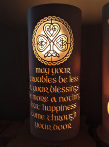Handcrafted Shamrock Blessing Night Light by Tique Lights