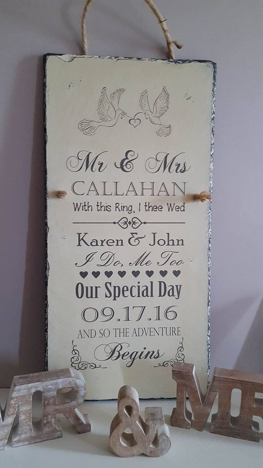 Unique Personalised Wedding Gift Plaque by Rosabelle Craftique