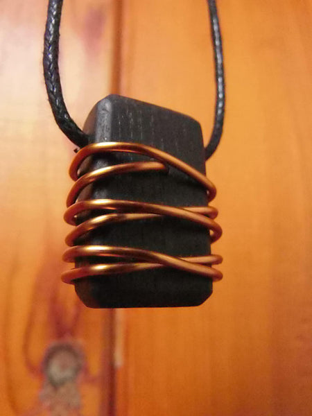 Wooden Celtic Pendant with Copper Detail S128 by Crafty Irish Beggars