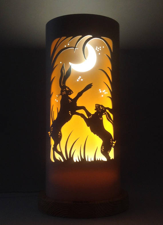 Handcrafted Boxing Hares Night Light by Tique Lights