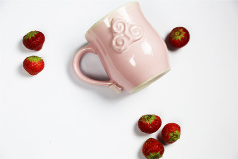 Strawberries & Cream Celtic Mug by Busy Bee Ceramics