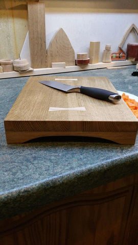 Quarter Sawn White Oak Chopping Board with Ash Bowties by Damian Freeman Woodwork