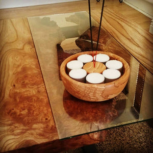 Spalted Beech Tealight Bowl With Incense Burner by Damian Freeman