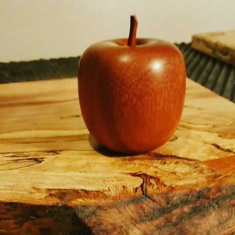 Woodturned Apple In Reclaimed Teak by Damian Freeman