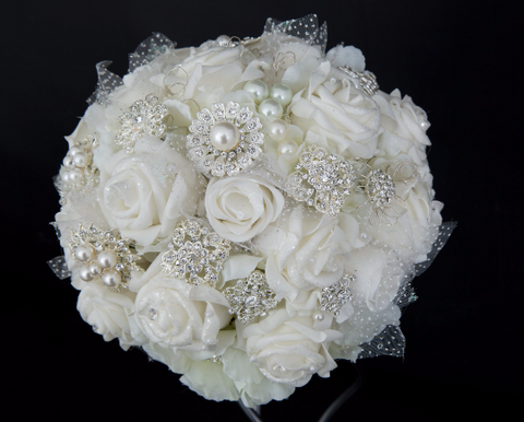 White Brooch Bouquet with Foam Flowers & Pearls by Emerald Isle Bouquets