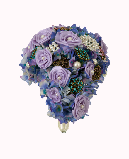 Purple Silk Ribbon Rose's Teardrop Brooch Bouquet by Emerald Isle Bouquets