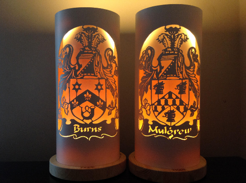 Handcrafted Family Crest Night Light by Tique Lights