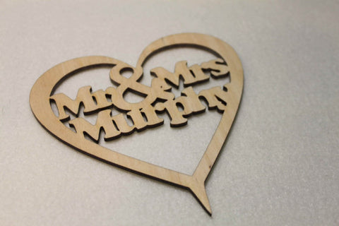 Personalised Mr & Mrs Cake Topper by FeelMyCraft