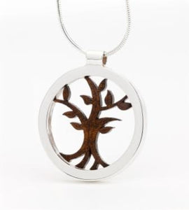Sterling Silver and Walnut Tree of Life by Monson Irish Jewelry