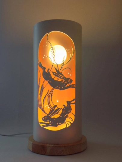 Handcrafted Moon Hares Night Light by Tique Lights
