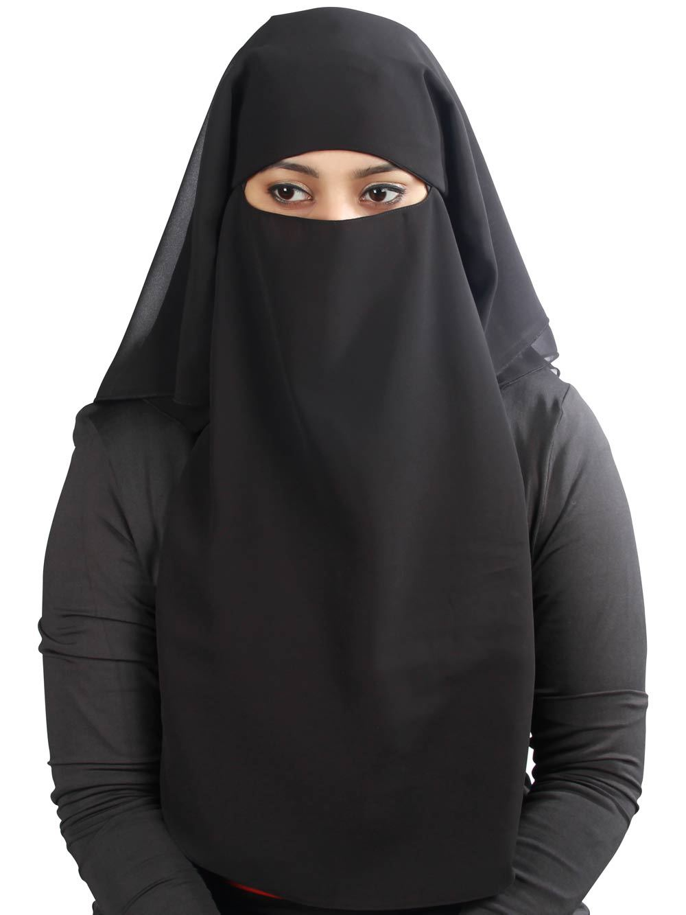 3 Layers Niqab In Black Georgette