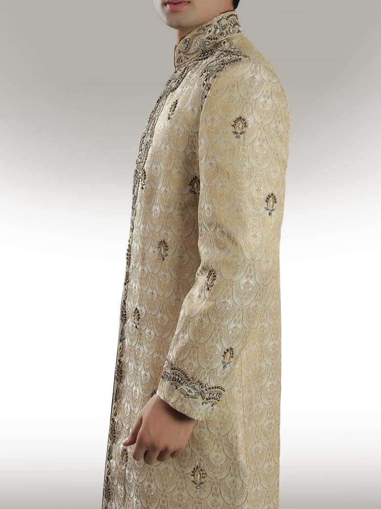 Traditional Beige Brocade Sherwani