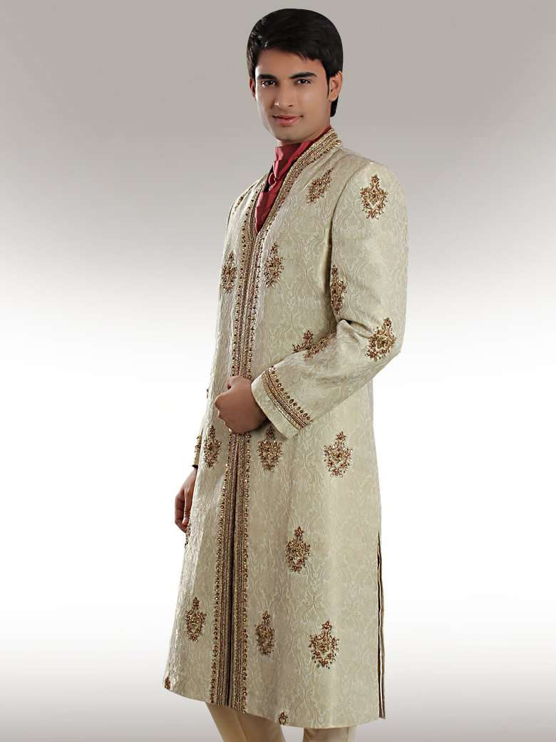 Groom Light Embroidered Cream Sherwani