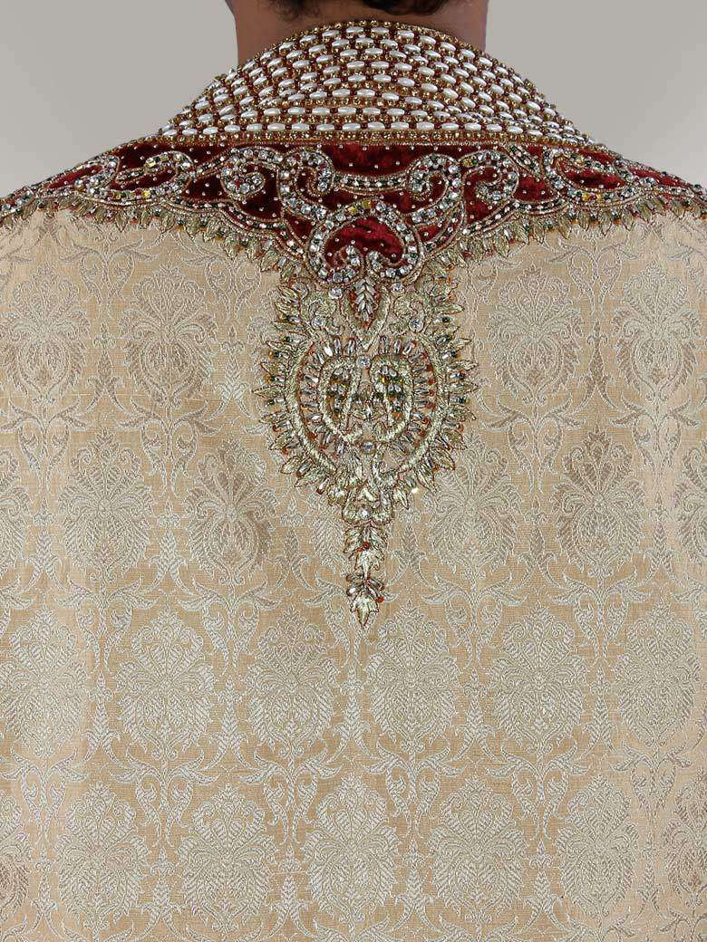 Mahir Velvet patch Embroidered Sherwani