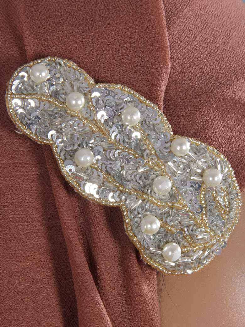 Leaf Silver Sequined Brooch Pin cum Clip