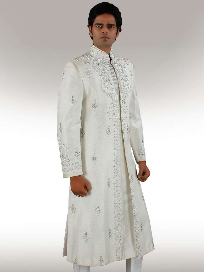 Shaayan Rich look off white Sherwani