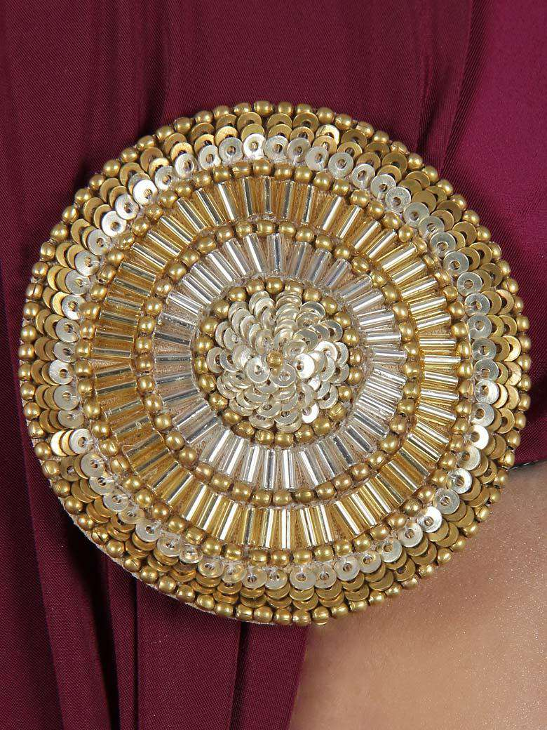 Metallic Gold Sequined Round Brooch Pin cum Clip