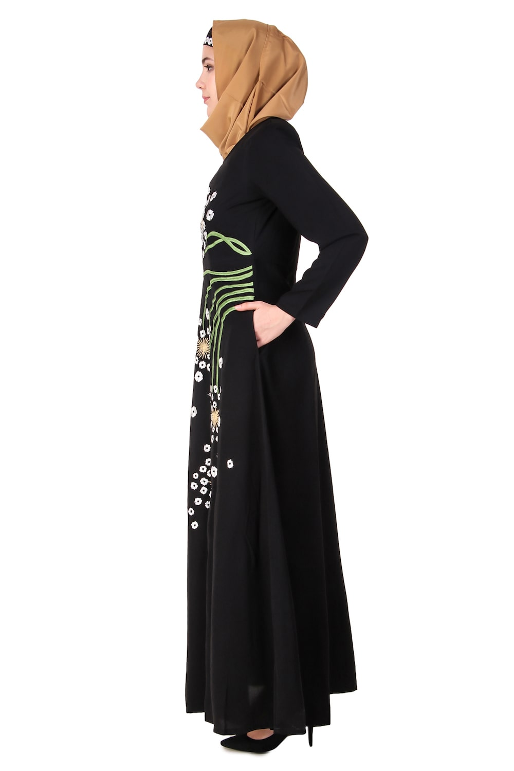Abstract Floral Design Anarkali Abaya