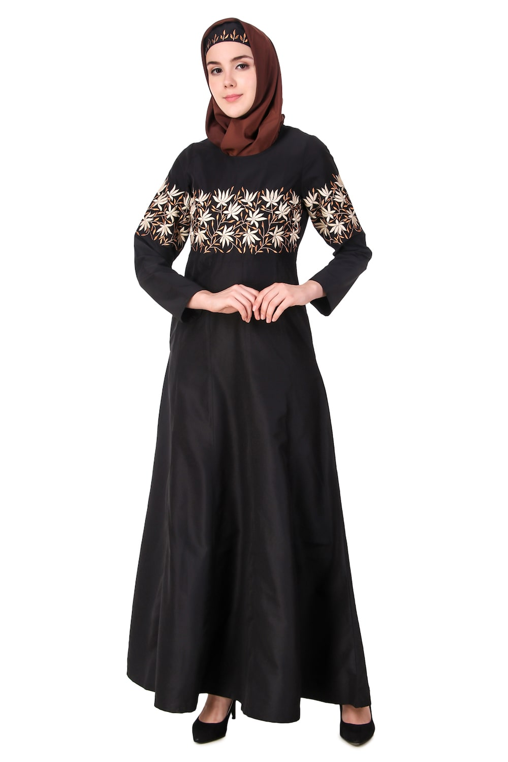 Horizontally Filled Floral Design Anarkali Abaya
