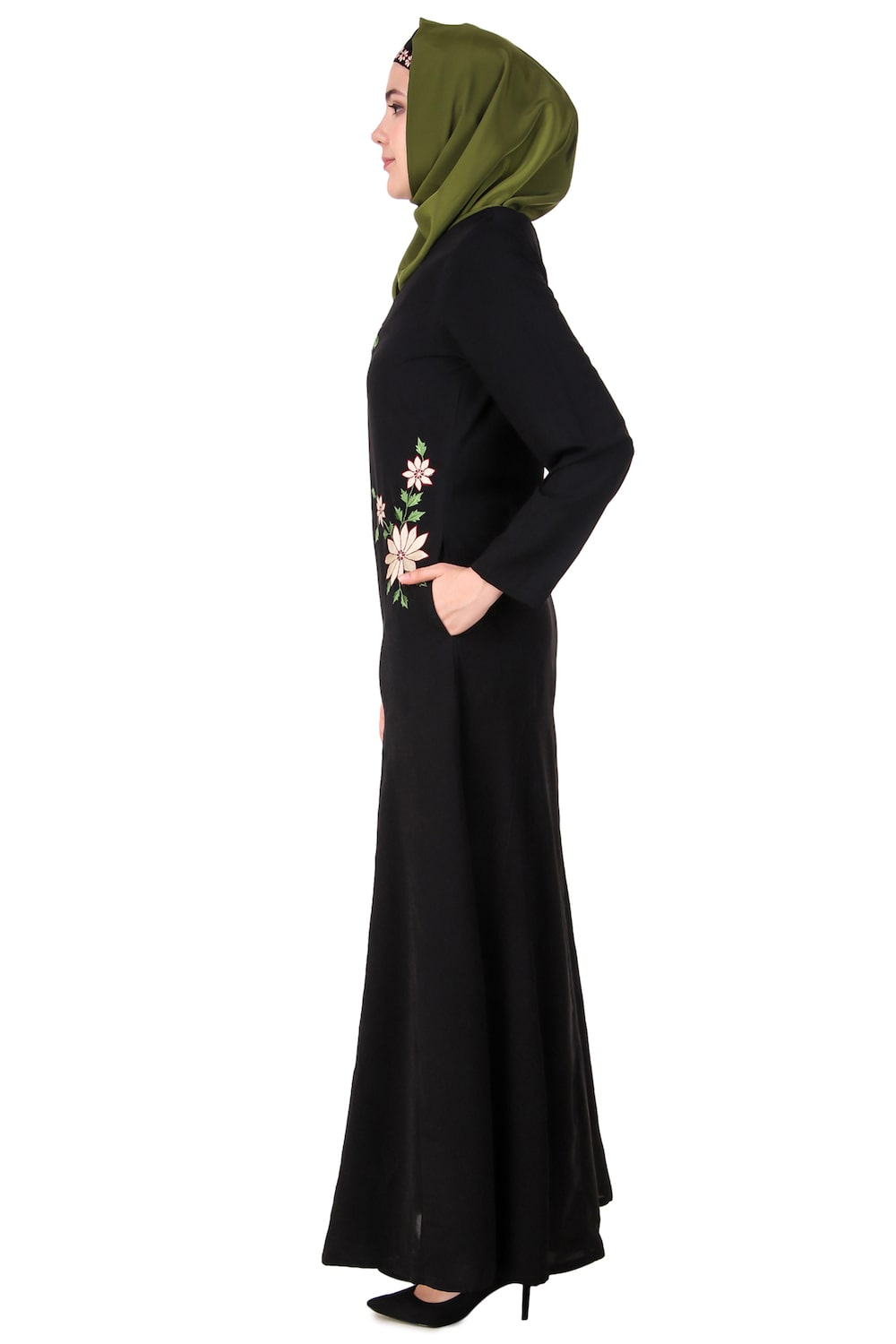 Floral Embroidery Nida Flared Abaya Side
