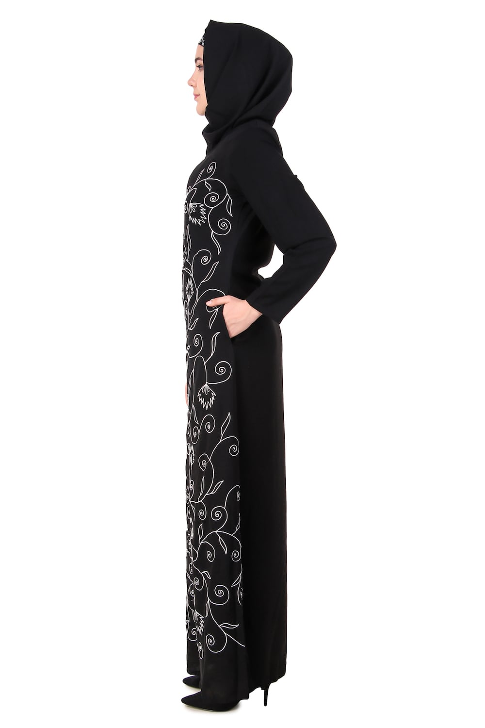 Front Floral Embroidered A-Line Abaya